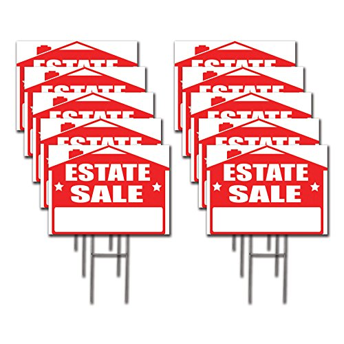 10 Pack Estate Sale Lawn Sign Kit with  Giant Arrow Stickers (10) by Visibility Signage Experts