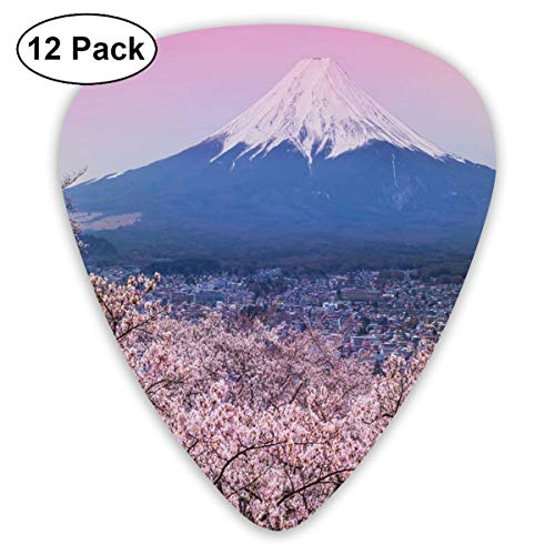Guitar Picks 12-Pack,Spring Season Picturesque Of Cherry Blossoms Sakura Pink Violet Tones Sky