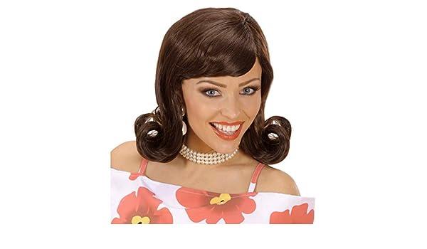 Peluca castaña retro 60 de mujer carnaval años 50 pelo sintético accesorio vestuario: Amazon.es: Juguetes y juegos