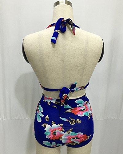 Moollyfox Mujer Impreso Cabestro Correa Talle Alto Bikini Traje De Baño Azul