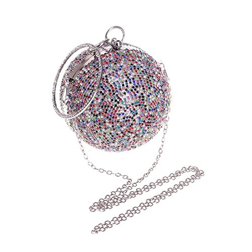 evening America New Europe encrusted Women's 1 Bag Spherical Handmade Color Evening Diamond Silver Diamond Bag Fly And Evening Multicolor bag SYwq86wng