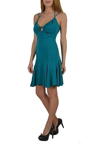 Just Cavalli Pine Green Halter Stretch Women's Dress