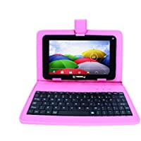 LINSAY NEW F7XHDBKSPINK, Quad Core, 8GB Android 4.4 Kit Kat with Pink Leather Keyboard Dual Cam