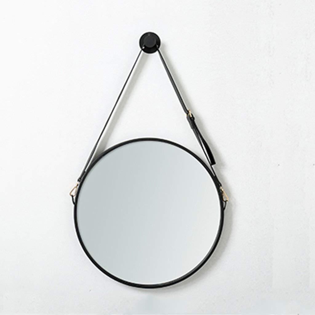 Black SMC Mirror Nordic Adjustable Belt Vanity Mirror Round Simple Wall-Mounted Anti-Fog Vanity Mirror (color   Black)