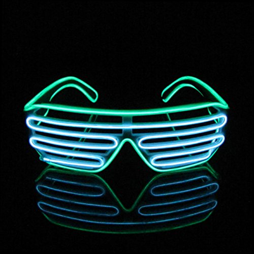 Aquat Light Up Neon Shutter Glasses LED Electroluminescent EL Wire Costumes Eyeglasses For Party RB03 (Green + White)