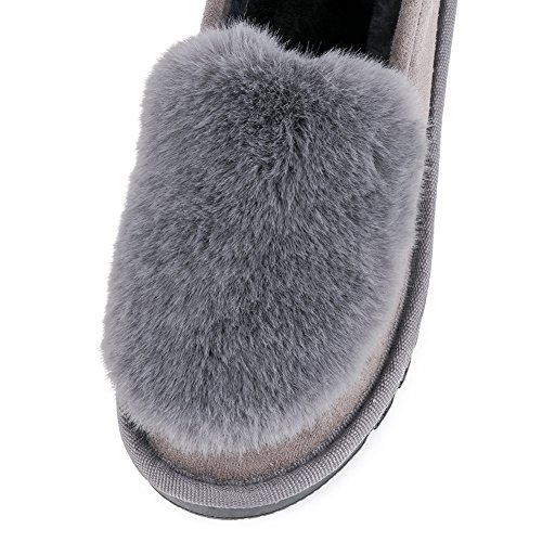 Grey Shoes Slippers Womens Comfort Meeshine Fur 02 Outdoor Winter Indoor Faux Moccasin Loafer House Fq7nUw