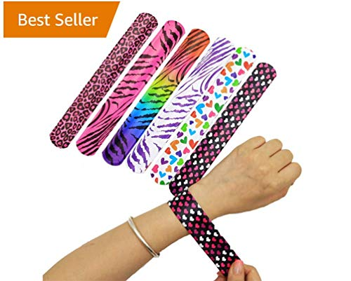 ITOM Slap Bracelets 72 PCs (24 Designs) for Prizes for Kids Games Party Favors Classroom Exchange with Colorful Print Emoji Hearts -