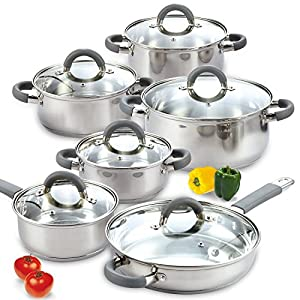 Cook N Home 2410 Stainless Steel 12-Piece Cookware Set, Silver