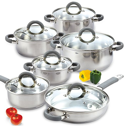 Cook N Home 12-Piece Stainless Steel Cookware (Glass Steel Casserole)