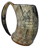 XXL Odin engraved Tankard 100% Natural Horn Mug 8 inch polished 36 oz. for Beer Viking Tankard