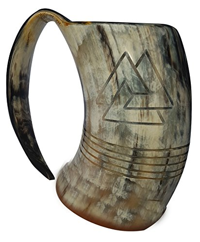- BRANDED XXL Odin engraved Tankard 100% Natural Horn Mug 8 inch polished 36 oz. for Beer Viking Tankard