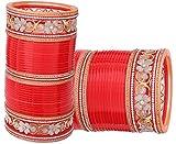 Gorgeous & Top Quality Zircon Stone Red/Mahroon/Golden/White Wedding/Engagement Flower Pattern American Diamond Punjabi Suhag Chuda/Choora, Bangle Set of 66 For Women Designed By NMII BRIDAL CHURA