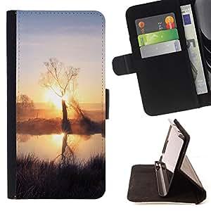 BullDog Case - FOR/Apple Iphone 6 / - / Sunset Beautiful Nature 59 /- Monedero de cuero de la PU Llevar cubierta de la caja con el ID Credit Card Slots Flip funda de cuer