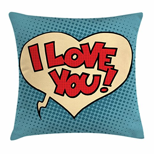 Ambesonne I Love You Throw Pillow Cushion Cover, Pop Style Comic Strip Valentine's Bubble Artistic Cartoon Graphic, Decorative Square Accent Pillow Case, 18 X 18 inches, Petrol Blue Red Ivory by Ambesonne