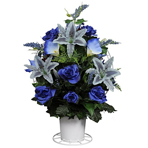Arrangement Lily Basket (Sympathy Silks Blue Open Roses with Stargazer Lilies Silk Flower Basket by (BA1564))