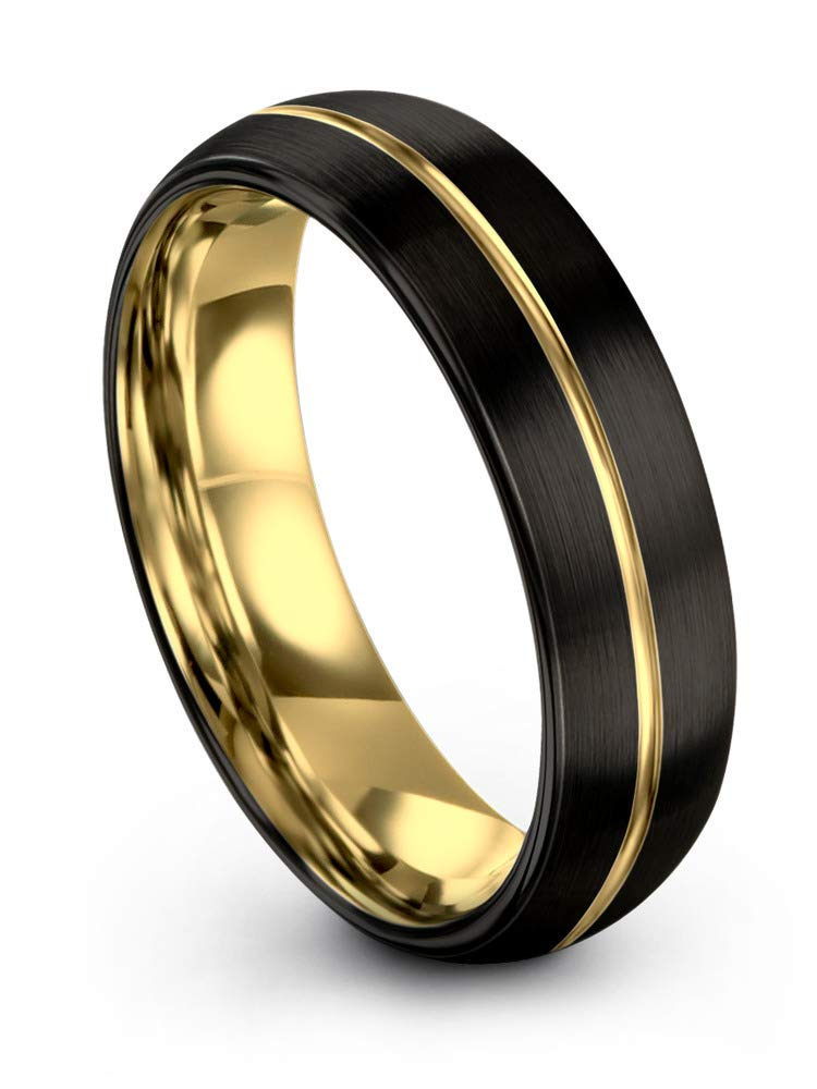 Midnight Rose Collection Tungsten Wedding Band Ring 6mm for Men Women 18k Yellow Gold Plated Dome Center Line Black Brushed Polished Size 9