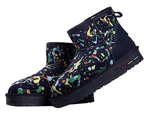 HooH Women's Nubuck Graffiti Winter Warm Snow Boots 5613 Blue WnbqhLX