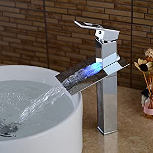 Wovier Led Water Flow Chrome Waterfall Bathroom Sink