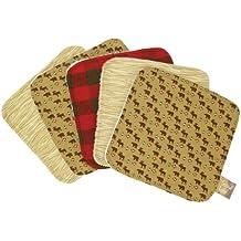 Trend Lab NorthwoodsWash Cloth Set, Red/Tan, 5-Count
