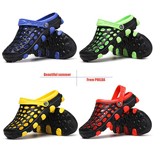 Black Non Mesh Water Clogs Breathable Garden Slippers Lightweight Slip Yellow Sandals Men's PHILDA Drying Shoes Quick wFHqRn