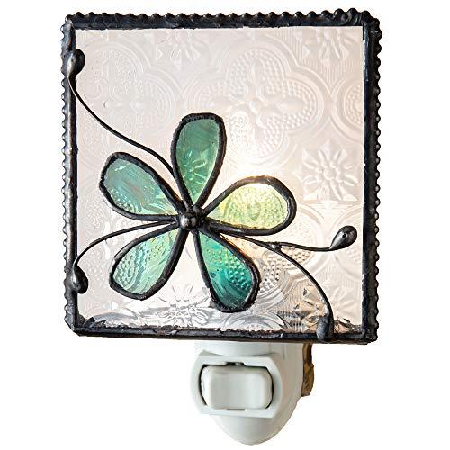 J Devlin NTL 129-3 Stained Glass Aqua Blue Flower Night Light Decorative Bedroom Bathroom Nursery Accent Lite