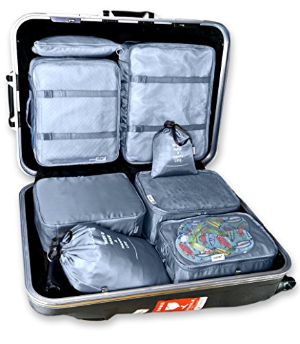 8 Set Travel organizers Packing Сubes Luggage Accessories Сlothes Shoes Bag (Gray)