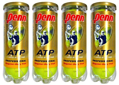 Penn ATP Regular Duty Tennis Balls (1 Dozen=4 Tubes of 3 Balls=12 Balls)
