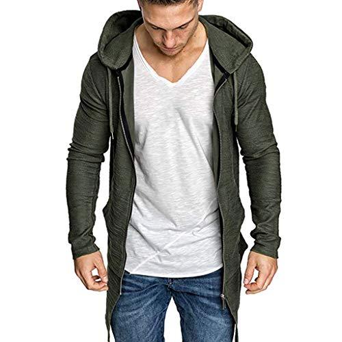 [해외]JSPOYOU Men Sweatshirt Splicing Hooded Solid Trench Coat Jacket Cardigan Long Sleeve Outwear Blouse / JSPOYOU Men Sweatshirt Splicing Hooded Solid Trench Coat Jacket Cardigan Long Sleeve Outwear Blouse Army Green