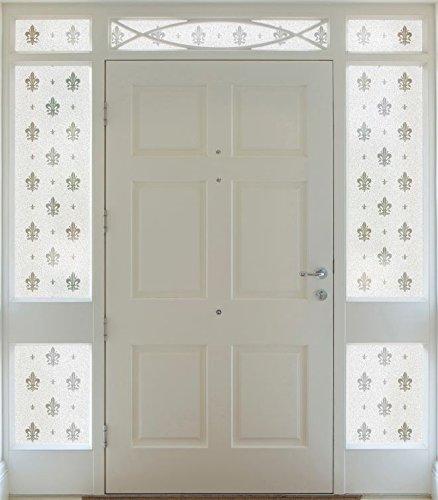 Gila 50167636 Fleur -De-Lis Decorative Privacy Control Static Cling Side Light Window Film 12 x 78-Inch (1 Ft. by 6.5 ft.), - Fleurs Window Windows