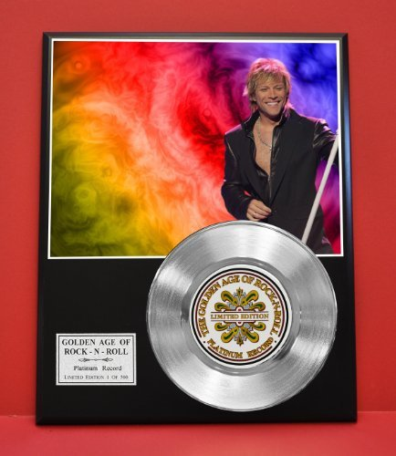 Bon Jovi Limited Edition Platinum Record Display - Award Quality Plaque - Music Memorabilia - Gold Record Outlet