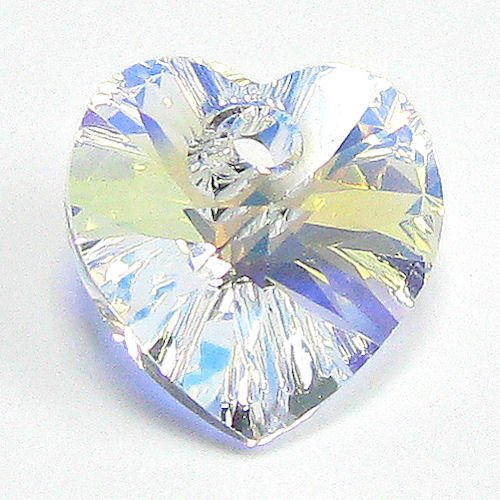 1 pc Swarovski Xilion Crystal 6228 Heart Charm Pendant Clear AB 18mm / Findings / Crystallized Element