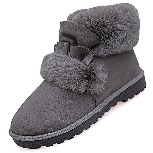 Green de plana Confort botas Negro Calf botas verde Invierno Casual Mid tacón puntera redonda PU HSXZ Zapatos Otoño para Mujer Gris de gxSwF1Bq