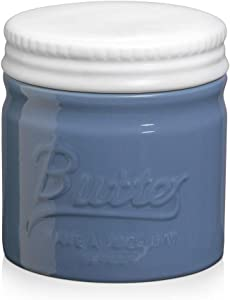 DOWAN Porcelain Butter Keeper Crock, French Butter Dish with Lid, Embossed Butter Container for Soft Butter, Big Capacity & Humanized Water Line, Airy Blue
