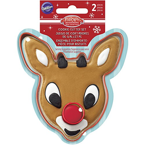 Wilton 2-Piece Rudolph the Red-Nosed Reindeer Cookie Cutter Set (Rudolph Cookie)