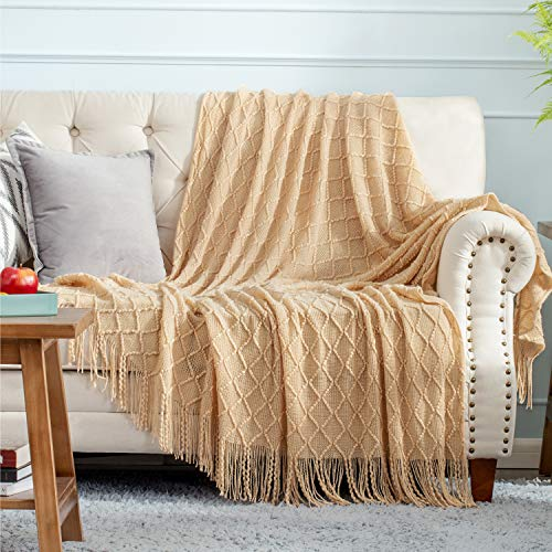 Bedsure 100% Acrylic Knit Throw Blanket, 50×60 Inch - Soft Warm Cozy Lightweight Decorative Blanket with Tassels for Couch, Bed, Sofa, Travel - All Seasons Suitable for Women, Men and Kids (Camel)