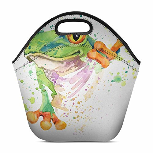 InterestPrint Lunch Bag Watercolor Tree Frog Tropical Rainforest Animal Waterproof Neoprene Gourmet Insulating Lunch Tote Portable Lunchbox Handbag 11.93