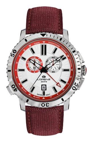 Lorenz 26892CC - Reloj analógico de Cuarzo para Hombre, Correa de Nailon Color Rojo