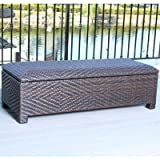 Best Selling San Diego Wicker Storage Ottoman, Brown For Sale