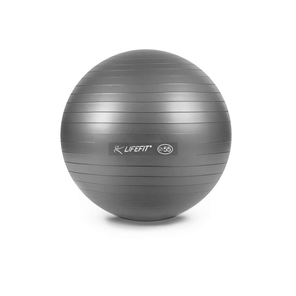 Elightry Gymnastikball für Fitness, Yoga, Pilates, Balance, Silber,Maximalbelastbarkeit bis 200kg Schwarz,Durchmesser-55cm