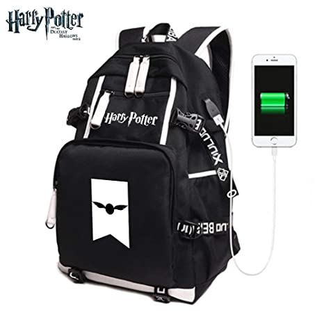 StMandy Mochila de Mochila para niños Harry Potter Mochila Mochila con Puerto de Carga USB