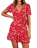 Relipop Summer Women Short Sleeve Print Dress V Neck Casual Short Dresses (Medium, Type 2)