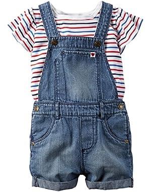 Baby Girl 2-Piece Tee & Shortall Set (24 Months, Denim)