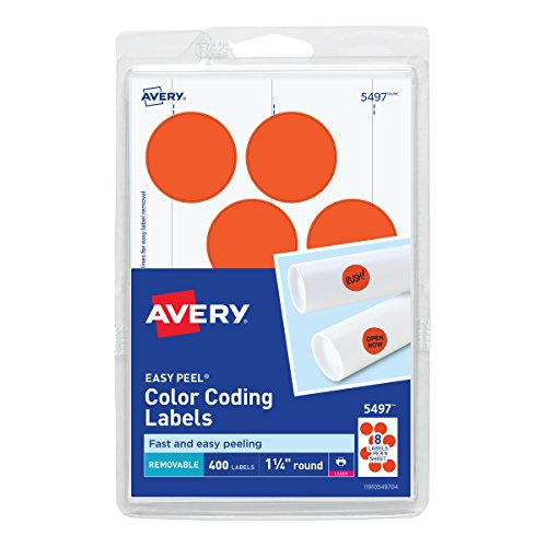 - Avery Removable Print or Write Color Coding Labels for Laser Printers, 1.25 Inches, Round, Pack of 400 (5497)