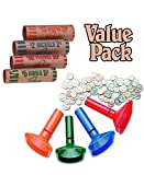 Color-Coded Coin Counting Tubes f/Pennies Through Quarters With Assorted Coin Preformed Wrappers, 112 Count Assortment, Value Pack