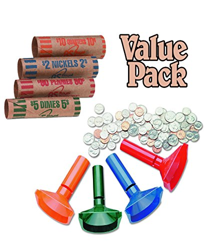 UPC 700310295867, Color-Coded Coin Counting Tubes f/Pennies Through Quarters With Assorted Coin Preformed Wrappers, 112 Count Assortment, Value Pack