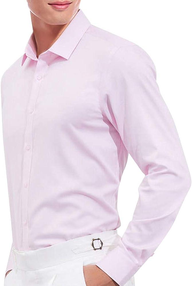 KAMA BRIDAL Camisa de Vestir para Hombre, Cuello clásico, Manga Larga, Botones - Rosa - Small: Amazon.es: Ropa y accesorios