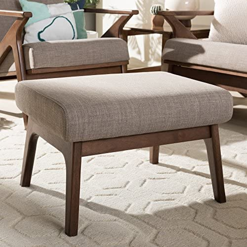 "Baxton Studio Bianca Mid-Century Wood Ottoman Mid-Century/Light Grey/Walnut Brown/Fabric Polyester 100 ""/Rubber Wood/"
