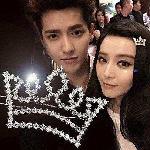Generic Cute Bear Ice Fan Ye, high-end models with sparkl rhinestone crown tiara alloy hairpin edge frog ()