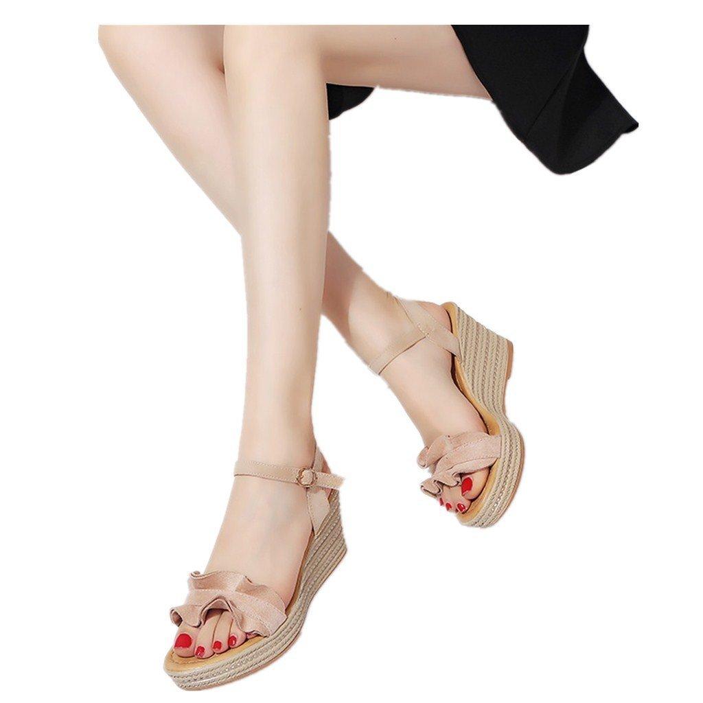 Clearance Sale Shoes For Women,Farjing Fashion Women Wedge Heels Ruffle Peep Toe Buckle Strap Sexy Sandals Pumps Shoes(US:7,Khaki)