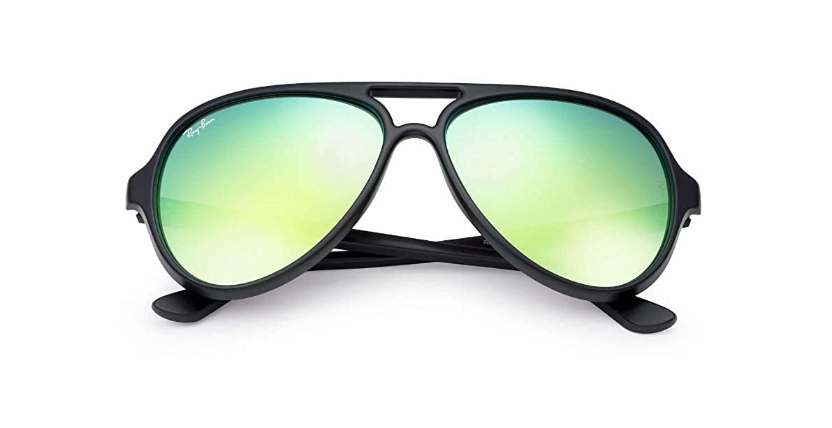 882557a5c7d Amazon.com  Ray-Ban CATS 5000 RB4125-601S19 Sunglasses MATTE BLACK w GREEN  FLASH 59mm  Clothing